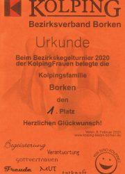 Kegeln Urkunde 2020